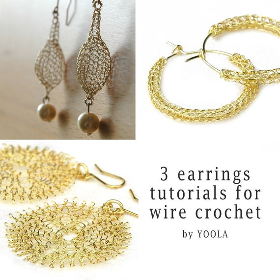 CROCHET jewelry PATTERN 3 Wire earrings PDF tutorials