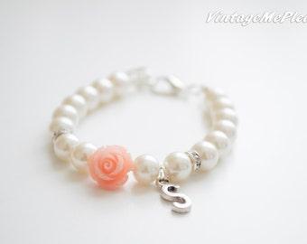 Flower Girl Gift, Personalized Gift, Bridesmaid Gift, Monogram Bracelet, Flower Bracelet, Bridesmaid Bracelet, Wedding Gift, Mothers gift