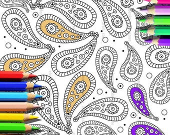 Paisley colour page,Instance download,Art,Colour pages,Decor home,Art therapy,Gift friends,Hand made,Digital,Digital graphic,Colouring pages