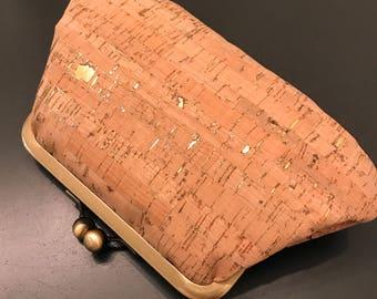 Rustic Gold Flecks Cork Clutch