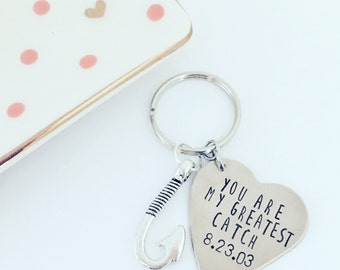 Fisherman keychain, greatest catch, anniversary gift, heart stamped