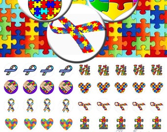 Autism -  1/2 inch or 12 mm Images 4x6 Digital Collage INSTANT DOWNLOAD