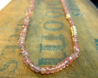 Tourmaline Necklace, Pink Tourmaline Necklace, Pink Gold Necklace, Tourmaline Bead Necklace, Tourmaline Jewelry , October Birthstone Jewelry
