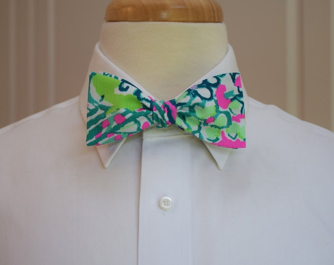 Men's Bow Tie, Early Bloomers 2018 pink/green Lilly print bow tie, wedding bow tie, groom/groomsmen bow tie, prom bow tie, tuxedo accessory
