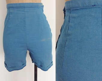 1950's Blue Denim High Waisted Shorts Size XS by Maeberry Vintage
