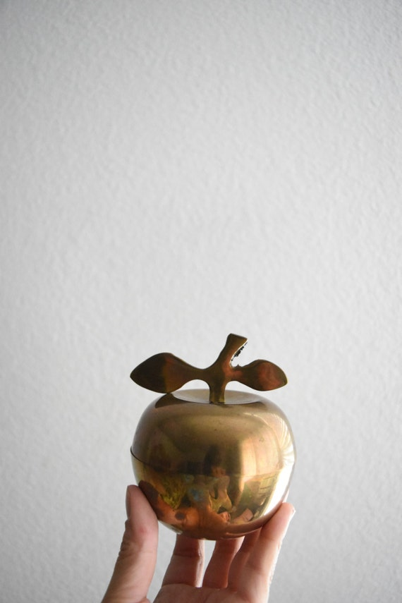 mid century rustic brass apple box / container / gift box