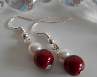 Pair of Burgundy and white pearls wedding earrings