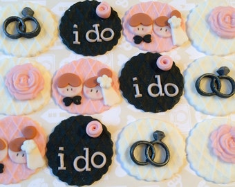 Bridal, Wedding, Engagement Party Fondant Toppers