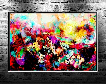 Flowers bokeh retro original abstract painting. Flowers bokeh retro original art digital download. Abstract flowers Flowers bokeh retro.