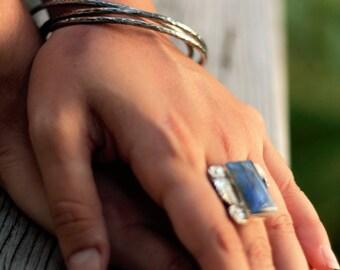 Stacking Bangle Bracelets Sterling Silver Hammered and Antiqued Bracelets Mix 'n Match Bangles