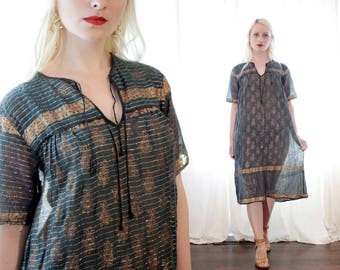 Vintage Indian black cotton gauze metallic gold lurex block print silver stripe thread short sleeve dress made in India ethnic BoHo hippie