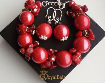 Red beaded jewelry set