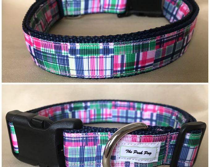 "Handmade Preppy Plaid 1"" Adjustable Dog Collar - MEDIUM"