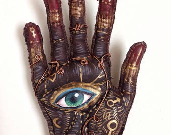 OOAK - magic hand - wall decor - charm - hand painted - palmistry - esoteric - textile sculpture