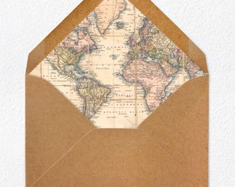 World Map Envelope Liner + Envelope - PACK OF 25 - Select Envelope Size and Color
