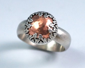 Mixed Metal Ring Copper and Silver / Sterling Silver, Copper Dome Ring / Crown Setting Handmade Ring / Made to Order Ring / Statement Ring