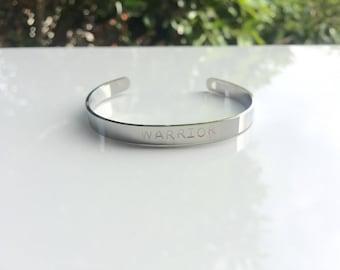 WARRIOR Mantra Bracelet   Mothers Day   Survivor   Personalised Bracelet   Motivational jewellery   Friendship Bracelet   Engraved Bracelet