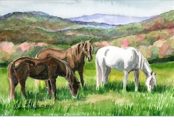 Horse Art Original Watercolor Painting Blue Ridge Spring llmartin