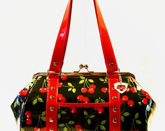 Cherry Handbag Vinyl Trim Kisslock Frame Rockabilly Bag Pin Up Purse - MADE TO ORDER