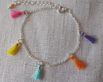 Bracelet colorful mini tassel