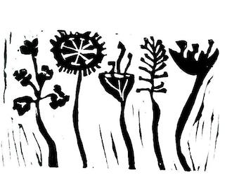 "meadow flowers linoleum block print - 9"" x 12"" wall art"
