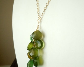 Green Apple Kisses...Green Paraiba Chalcedony Briolette Necklace...Ready to Ship...FREE SHIPPING