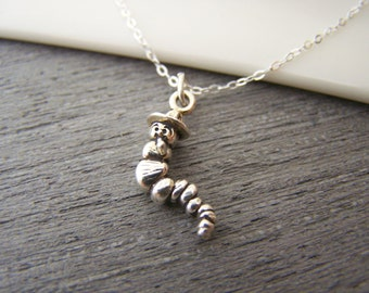 Tiny Alice in Wonderland Caterpillar Charm Sterling Silver Necklace Simple Jewelry / Gift for Her