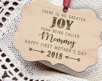 First Mother's Day Gift - Personalized Wooden Christmas Ornament - Rustic Ornament - Mother's Day Gift - Mother - Mom Gift