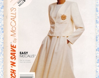 1980s McCalls 3801 Womens Suit Sewing Patterns Short Jacket & Flared Skirt Misses Size 12 14 16 Bust 34 36 38 Easy Vintage UNCUT