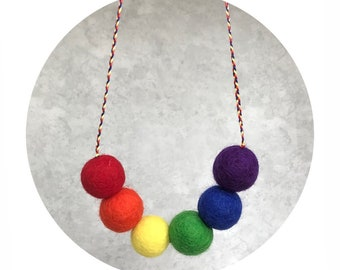 Primary Rainbow Wool Felt Ball Kids Necklace Red Orange Yellow Green Blue Purple