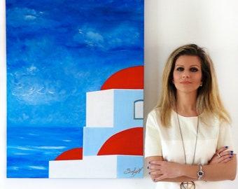 Painting on canvas, Greek island, Greek summer, blue, red, seascape, Original Acrylic handmade painting, Home Decor, Modern Art, white, gold