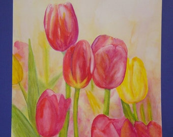 """Unframed Original Watercolor Painting of 7 Tulips (18.5"""" x 14"""")"""
