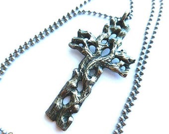 MENS OOAK Vintage Antiqued Silver Cross, Mens Silver Openwork Tree Branches Pendant, Entwined Branches Cross Pendant & Ball Neck Chain