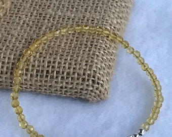 3mm Genuine Citrine gemstone bracelet with magnetic clasp