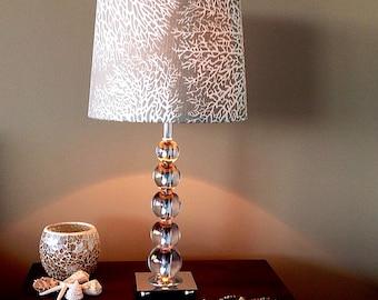 Coastal lampshade etsy lampshade coastal decor lamp shade beach decor coastal decor driftwood coral ocean blue spa aloadofball Choice Image
