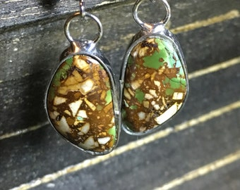 Royston Turquoise Dangle Earrings with natural geometric pattern