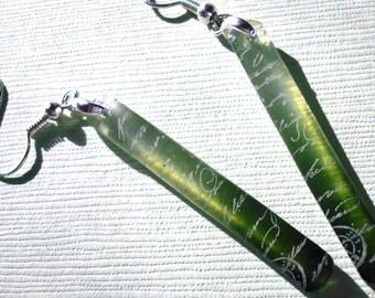 Ombre earrings, emerald ombre, resin earrings, gradations, emerald super skinniy earrings, gifts under 20