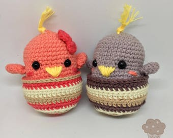 Lovebirds Amigurumi Crochet chicken amigurumi - Gift Valentines day wedding aniversary engagement baby shower