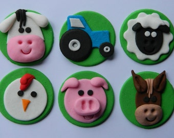 12 edible FARM ANIMALS CUPCAKE sheep cow pig horse tractor icing toppers cookie cake topper cupcake decoration wedding engagement birthday