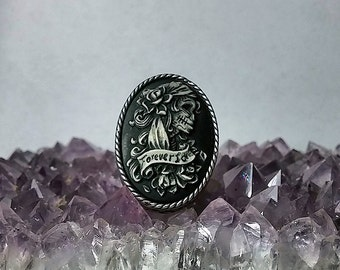 Sugar Skull Adjustable Ring. Day of the Dead Jewelry. Forever Love Cameo Ring. Unique Gift for Bridesmaid Dia De Los Muertos Wedding