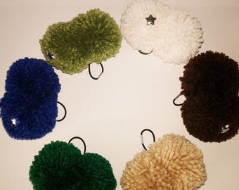 Two Large Pom Pom Ponytail Holders, Hair Ties,  Elastic Holders, Hair Accessories, Girls' Bun Holders, Gift Idea