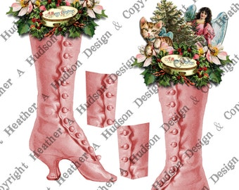Vintage Pink Shabby chic Victorian Christmas Gift tag Money Holder  Boot  Digital Collage sheet