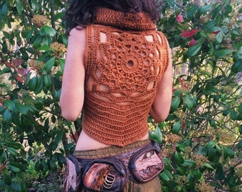 Mandala Vest ~ Organic Wool ~ Earth Guardian Goddess ~ Earthy Brown ~ Handmade + Crochet top ~ Eco + Natural + Ethical.