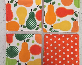 Drink Coasters - Set of 4 - Bright Pears