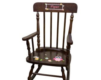 Personalized Owl Rocking Chair Custom Espresso Rocker Childs Cherry Wood Rocker Owls for Woodland Nursery Toddlers Chairs Children SPIN-esp