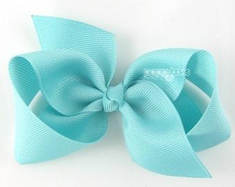 Girls Hair Bow - aqua blue hair bow - Loopy Bows - large hair bows - big hair bows - bows for girls - toddler clips hairbows - 3.5 inch bows