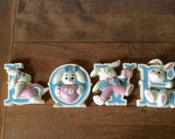 """Vintage Burwood Products, Vintage """"LOVE"""" Wall Decor, Bunny Wall Hanging"""