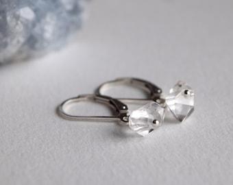 Herkimer diamond earrings, April birthstone, Herkimer diamond quartz crystal, lever back ear wire, Harmony