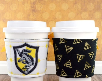 Harry Potter Cup Cozy // Hufflepuff House Cup Cozy // reversible // adjustable // cold drink cozy // drink sleeves // reusable