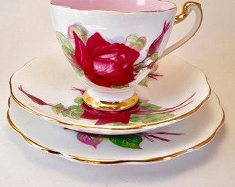 Vintage Roslyn fine bone china - Wheatcroft Roses - #2 Grand Gala - Wheatcroft Series - Roslyn teacup trio - floral trio - vintage trio